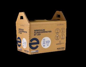 Emballage pour le recyclage d'ampoules fluocompactes et led